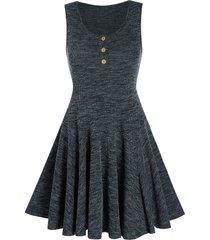 knitted sleeveless henley mini a line dress