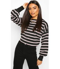 striped crew neck sweat top, rose
