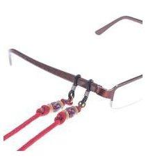 beaded eyeglass lanyard, 'stormy in red' (thailand)