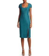sequin cap-sleeve sheath dress