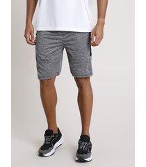 bermuda masculina esportiva ace com bolsos e recortes cinza mescla