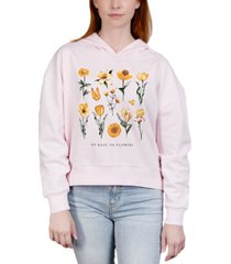 rebellious one juniors' flower-print hooded sweatshirt