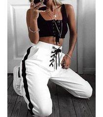 cordones diseño cintura elástica de retazos pantalones