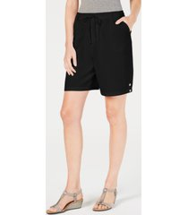 karen scott petite cotton pull-on shorts, created for macy's