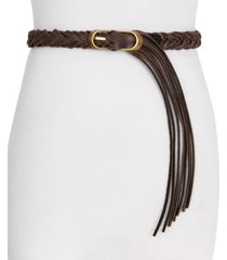 frye & co braided panel with fringe leather belt