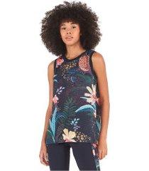camiseta regata farm rio tela flor de onça - feminina - preto/verde