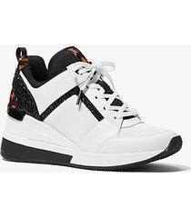 mk sneaker georgie in materiale misto - bianco ottico/nero (nero) - michael kors