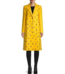 notch lapel embellished coat