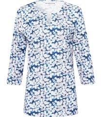 shirt 100% katoen v-hals en bloemenprint van green cotton blauw