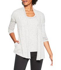 nic+zoe nic + zoe speckle open front cardigan, size small p in grey mix at nordstrom