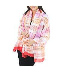 rayon and silk blend batik shawl, 'tropical plaid' (thailand)