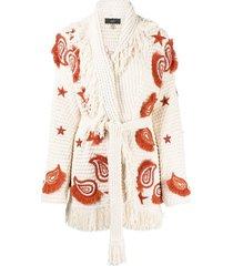 alanui embroidered cardi-coat - neutrals