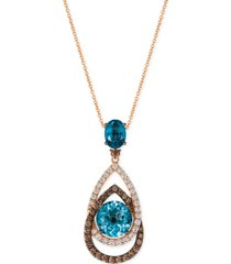le vian chocolatier london blue topaz (5-1/2 ct. t.w.) and diamond (1-1/10 ct. t.w.) interlocking teardrop pendant necklace in 14k rose gold, created for macy's