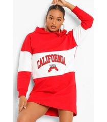 california colour block sweatshirt jurk met capuchon, red