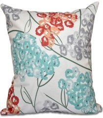 hydrangeas 16 inch coral and aqua decorative floral throw pillow