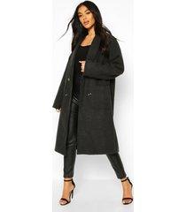oversized wide sleeve wool look coat, charcoal