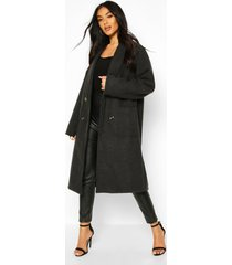 oversized wide sleeve wool look coat, charcoal