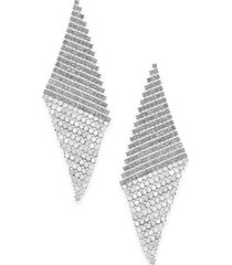 inc silver-tone pave triangular mesh statement earrings, created for macy's