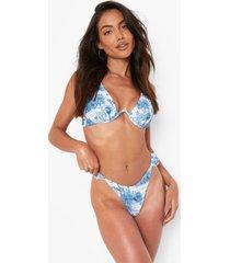 blauw tanga bikini broekje met franjes, blue