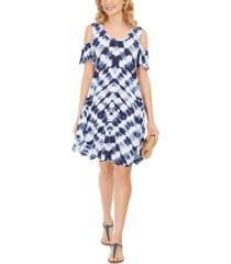 style & co tie-dye cold-shoulder swing dress, created for macy's