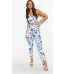 bloemenprint skinny fit broek, royal
