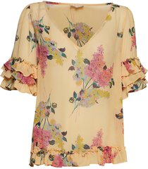 semi couture frill top blouses short-sleeved roze by ti mo