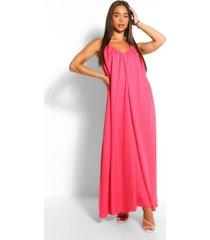 gedetailleerde maxi-jurk met bandjes en bandjes, koraal