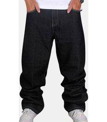 moda da uomo allentata sottile fit colore puro cotone hip-hop jeans