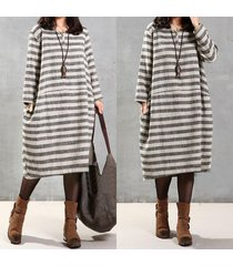 plus women long sleeve baggy striped cotton loose retro kaftan long maxi dress