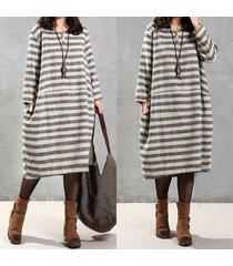plus women long sleeve baggy striped cotton loose retro kaftan long maxi dress