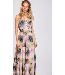 sukienka maxi na ramiączkach z nadrukiem