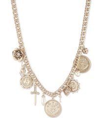 "marchesa gold-tone pave & imitation pearl multi-charm statement necklace, 16"" + 2"" extender"