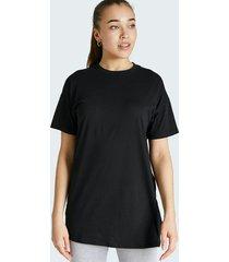 lång t-shirt i bomull med rund hals - svart