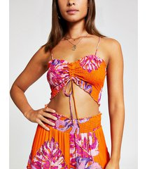 river island womens orange floral beach crop top