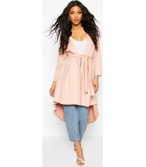 faux suede duster coat with tie waist, pink