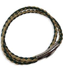 stainless steel & leather wrap bracelet