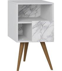 mesa de cabeceira c/ porta branco/carrara be mobiliã¡rio - branco - dafiti