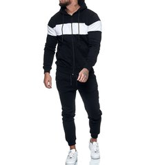 contrast zip up hoodie jacket and pants sports two piece set