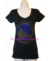 golden state warriors jersey bling rhinestone t-shirt v-neck