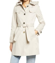 women's via spiga belted water repellent trench coat, size large - beige