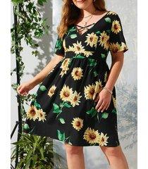 plus size criss cross sunflower print dress