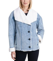 bcbgeneration faux-shearling denim coat