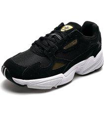 tenis lifestyle negro-dorado-blanco adidas originals falcon w