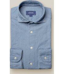 eton heren overhemd indigo twill slim fit cutaway