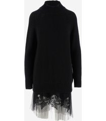 ermanno scervino designer dresses & jumpsuits, black knit wool women's dress
