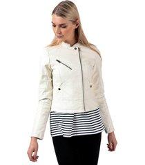 vero moda womens nora favo faux leather jacket size 14 in white