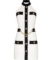 balmain halter neck contrast tweed mini dress - white