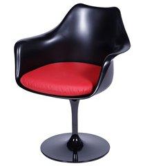 cadeira almofadada com braços saarinen preta e vermelha