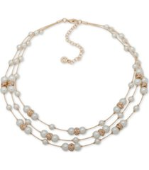 """anne klein gold-tone beaded three-row necklace, 16"""" + 3"""" extender"""