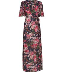 delicate semi wrap gown maxi dress galajurk multi/patroon by ti mo